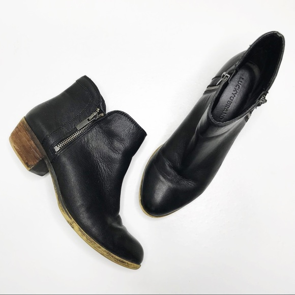 Lucky Brand Breah Black Leather Zip Ankle Booties